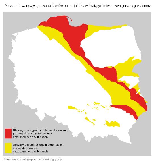 Lage der Schiefergasvorkommen in Polen