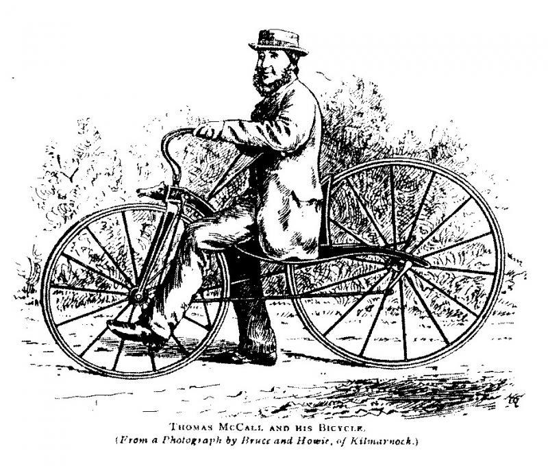 Thomas McCall na jego velocipede w 1869 roku