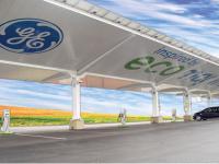 Futurystyczna stacja ładowania pojazdów elektrycznych