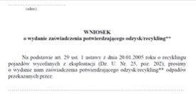 Karty, wnioski i druki z zakresu ochrony środowiska